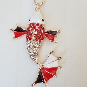 NWT-  Rhinestone Koi Fish Pendant with Necklace